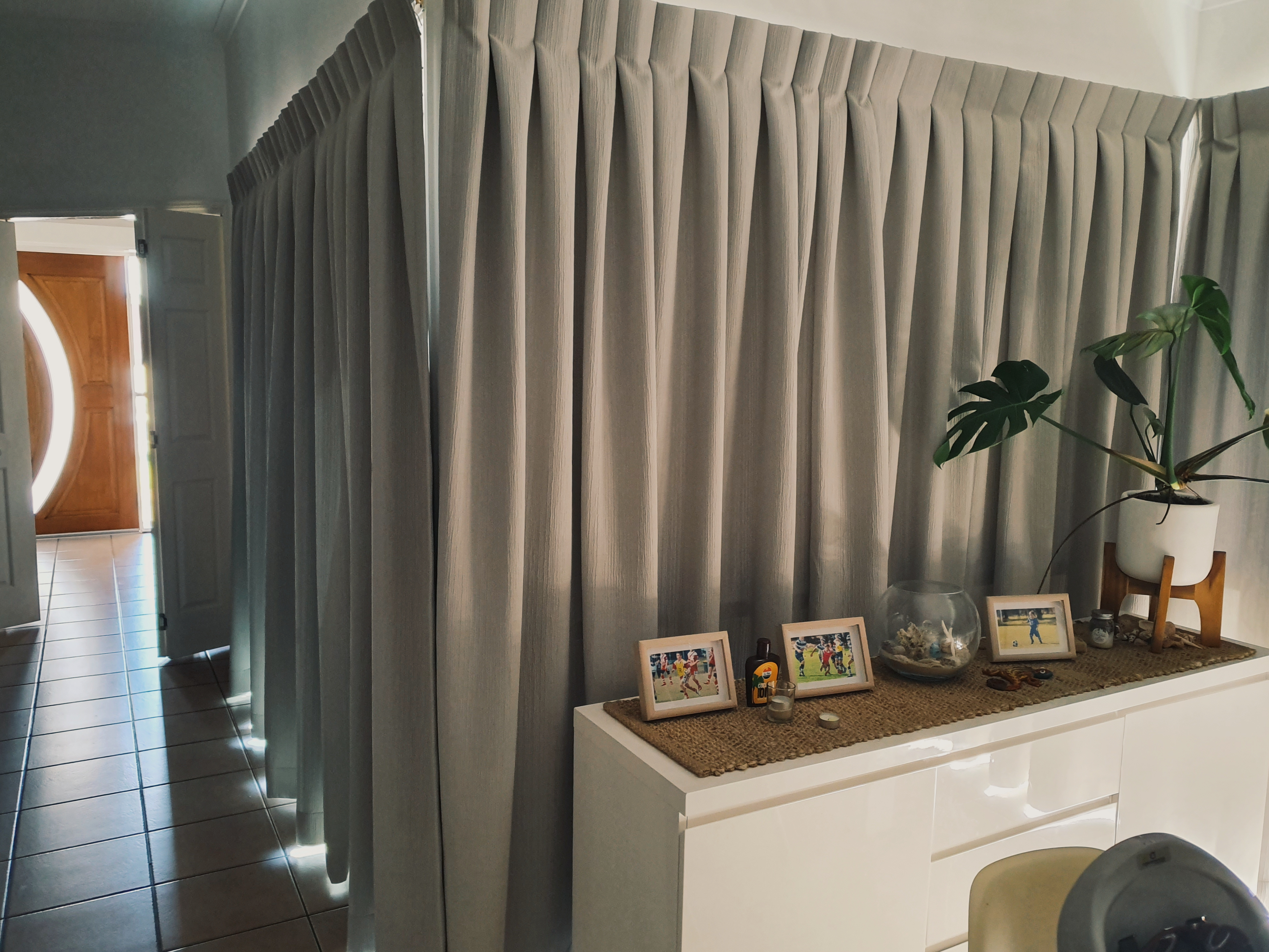 Tripleweave dimout blockout room darkening drapery curtains reverse pleated