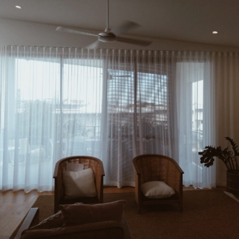 Soft linen-look S-Wave sheers - Nettex Bali ceiling to floor wall to wall