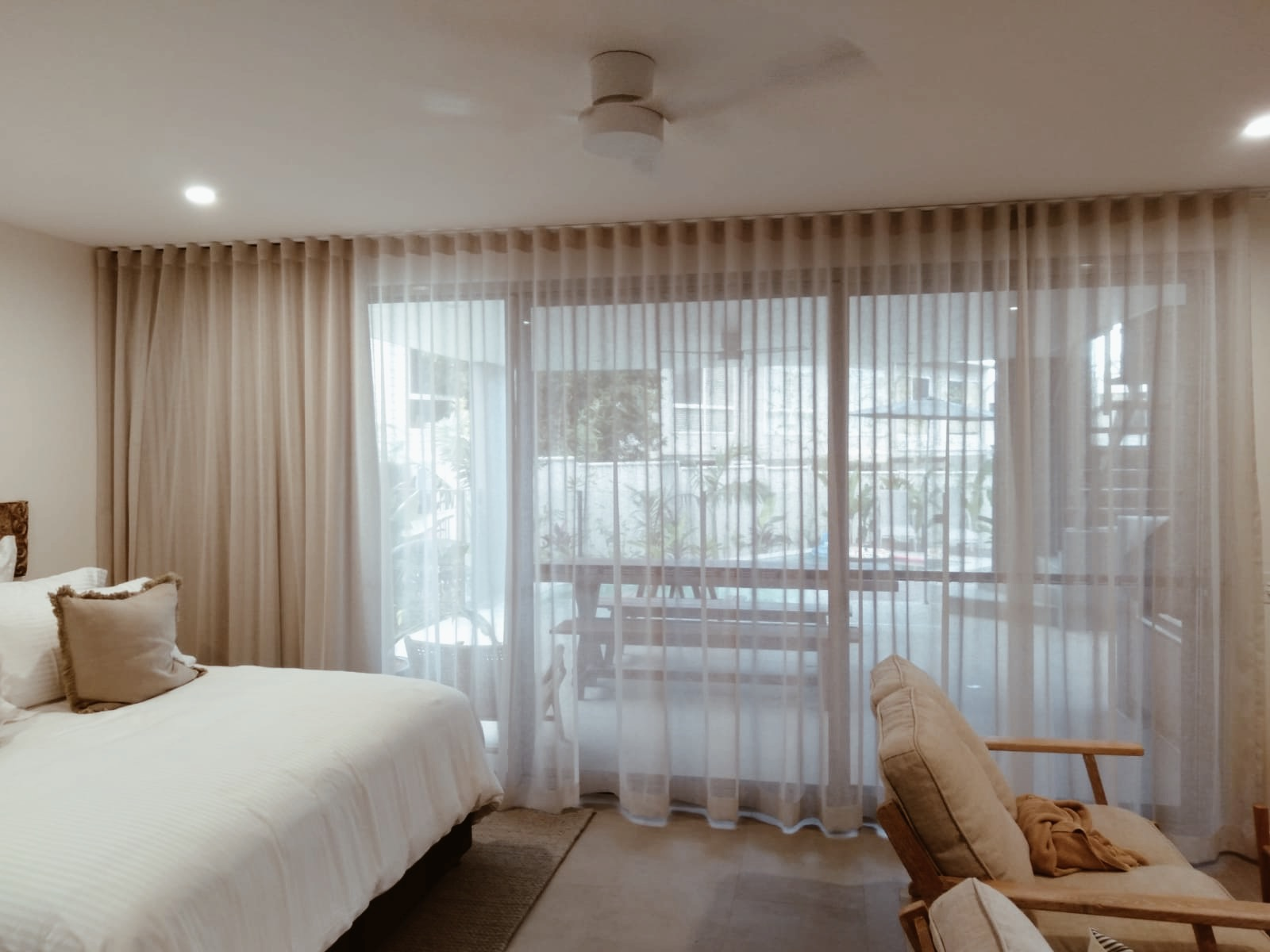 Soft linen-look sheers with tripleweave lining curtains wall to wall ceiling to floor double track- Nettex Bali and Mikado