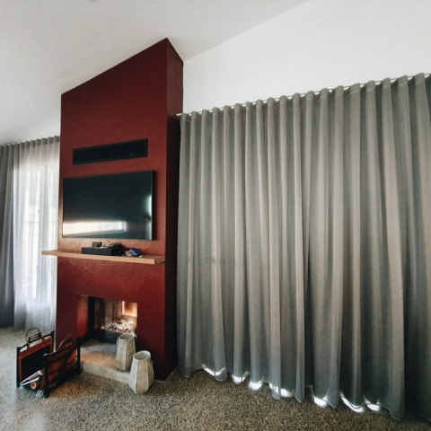 Shimmery Glaze sheer S-Wave curtain with soft Mikado tripleweave lining double track