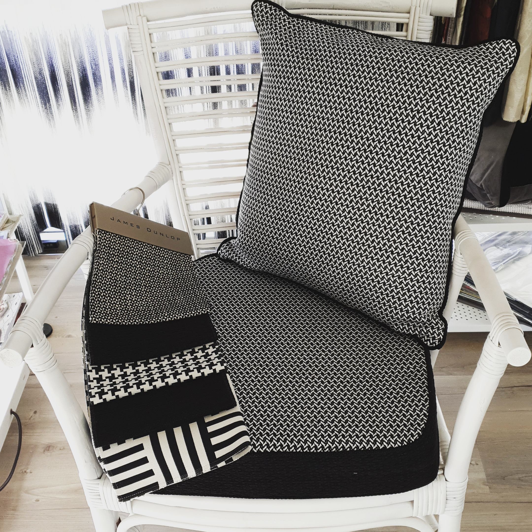 Black and white houndstooth upholstery soft furnishing cushions