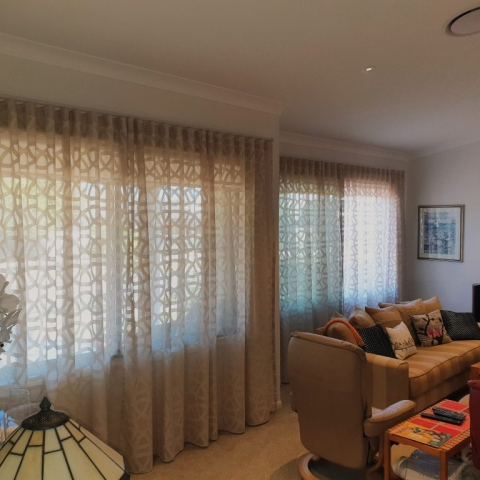 Gorgeous linen look sheers with geometric pattern on S-wave poles